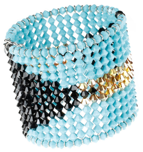 Bahamas Flag Cuff Bracelet in Swarovski Crystal