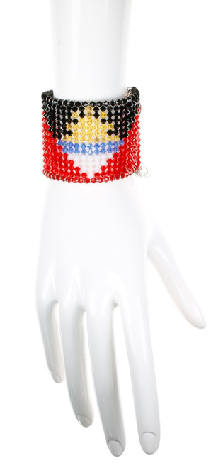 Crystal Bracelet with Antigua National Flag in over 500 Crystals from Swarovski