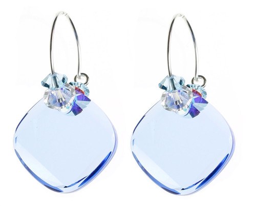BEAUTIFUL BLUE CRYSTAL EARRINGS BY KAREN CURTIS IN NYC