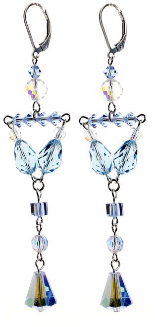 Simple Divine Blue Elegant Statement Earrings