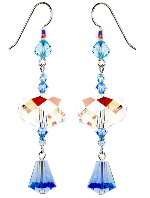 Sterling Silver Swarovski Crystal  Blue and Crystal AB Statement Earrings