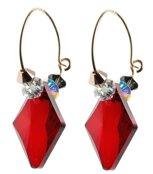 Red Crystal Hoop Earrings made with Rare Swarovski 14K GF by Karen Curtis NYC