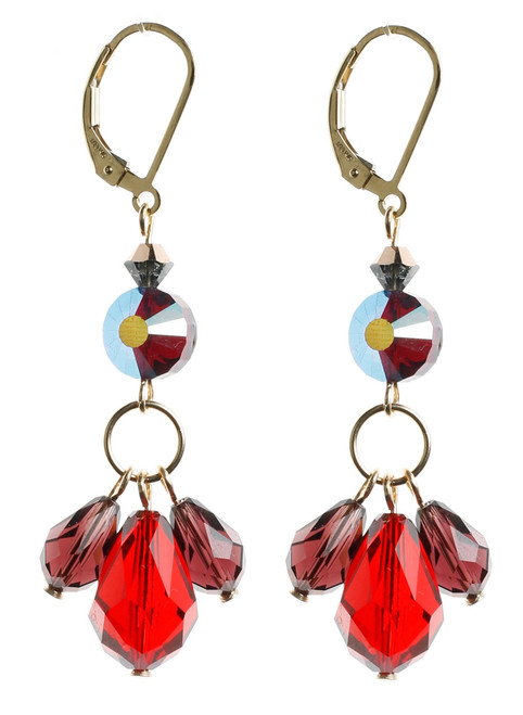 Red and Garnet Crystal Earrings. 1940's Swarovski Vintage Bead on 14K GF.