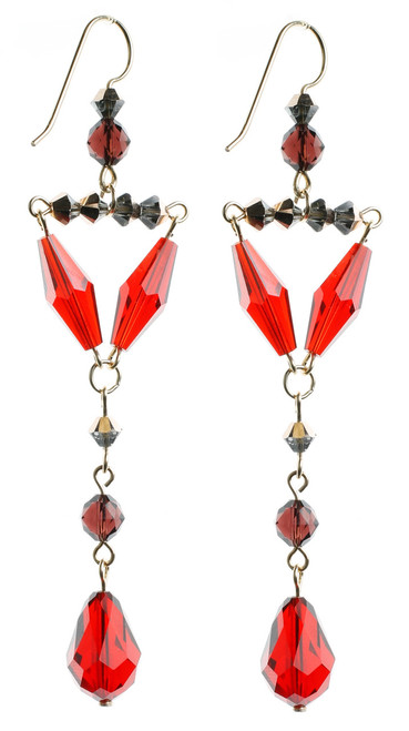 Elegant Red Swarovski Crystal and 14K GF Earrings. Made by Karen Curtis using Vintage Swarovski beads.