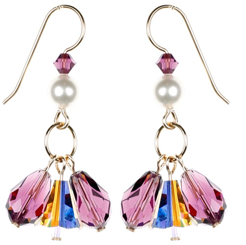 Triple Drop Earrings - February Birthstone