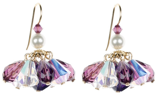 Purple Cluster Earrings - February Birthstone