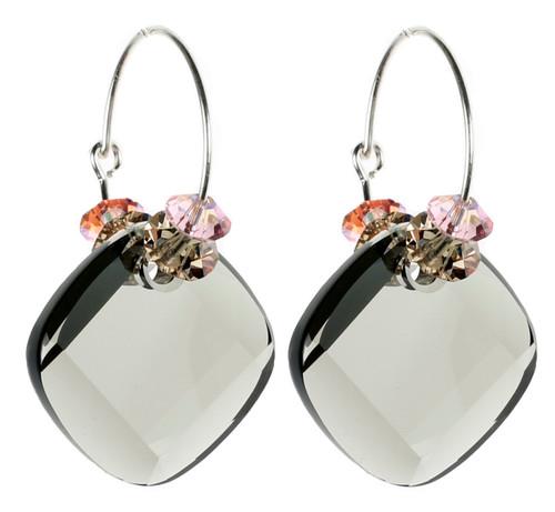 Limited Edition Sterling Silver Swarovski Crystal Black Diamond Hoop Earrings - Sunset