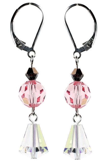 Vintage Clear and Pink Crystal Earrings
