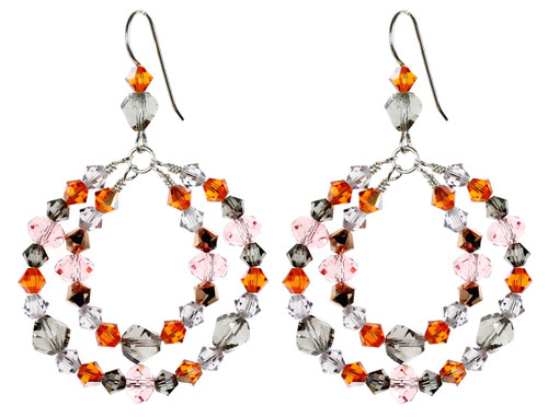 Sterling Silver Swarovski Crystal Double Hoop Wire Wrapped Earrings -Sunset