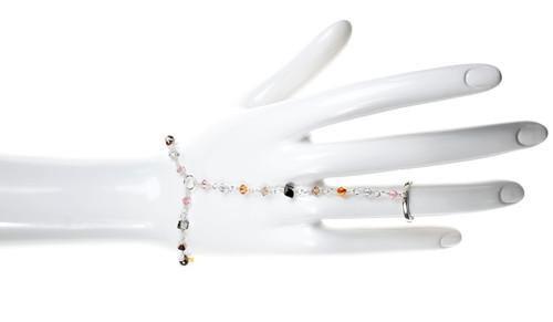 Sterling Silver Swarovski Crystal Pink Sunset Hand Chain Bracelet & Ring - Sunset