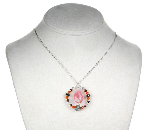 Glass and Crystal Pendant Necklace
