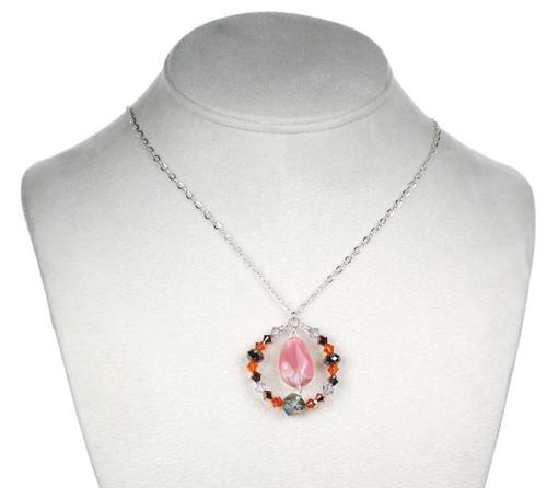 Limited Edition Sterling Silver Swarovski Crystal & Glass Pendant Necklace Sunset