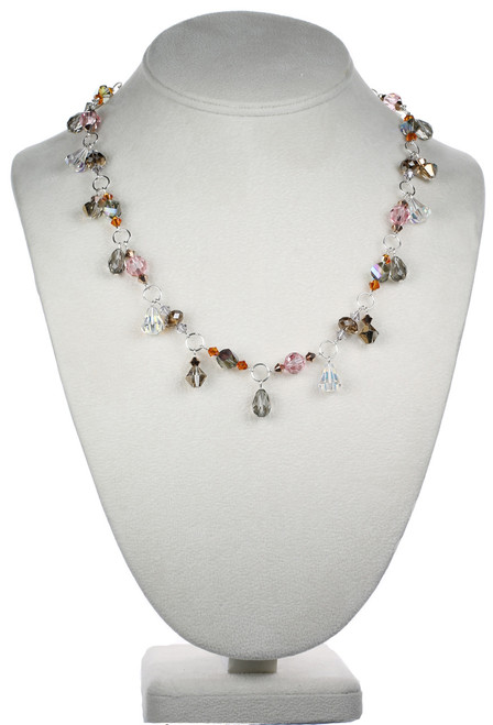 Sterling Silver Swarovski Crystal Limited Edition Versatile Necklace with Drops - Sunset