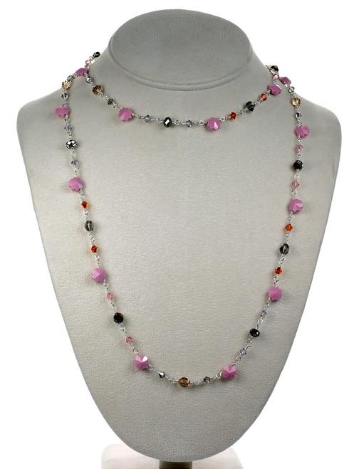 """36"""" Vintage Pink Crystal Strand Necklace"""