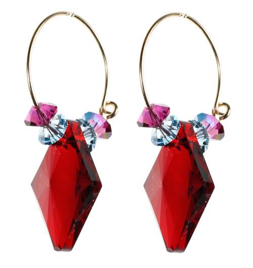 Bright Red Crystal Hoop Earrings