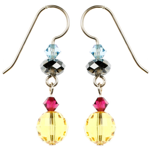Yellow Crystal Earrings - Tiffany Collection