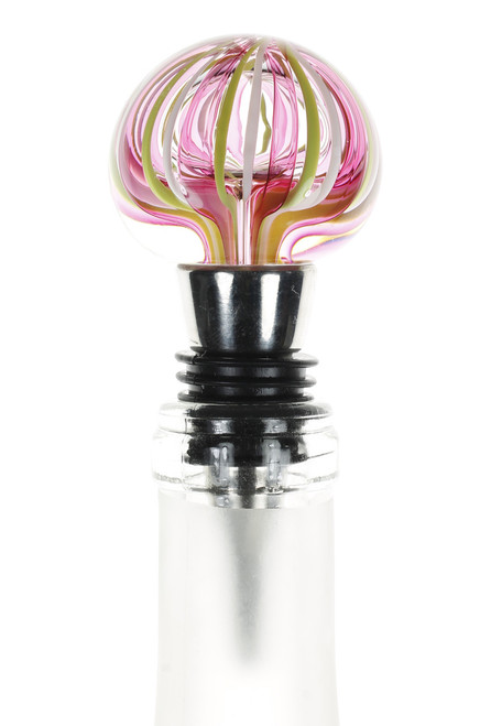 Pink and Neon Yellow Wine Stopper.  Hand Blown in NYC by Karen Curtis