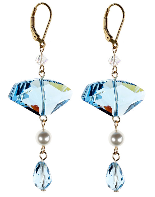 Abstract Blue Crystal Earrings - March Birthstone