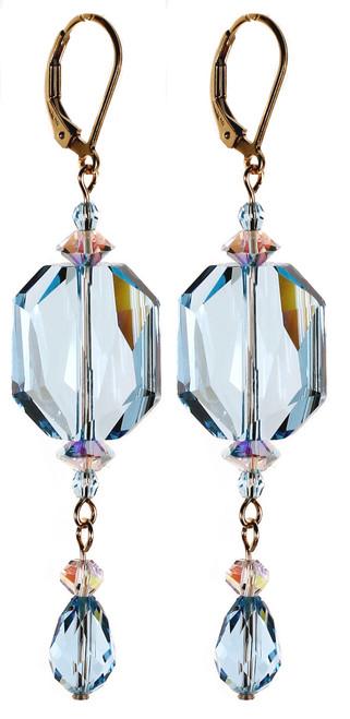 Long Elegant Blue Earrings - March Birthstone