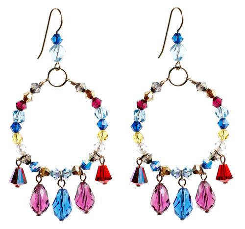Colorful Loop Earrings w Drops - Tiffany