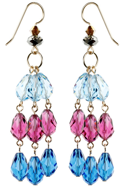 Long Colorful Strand Earrings - Tiffany