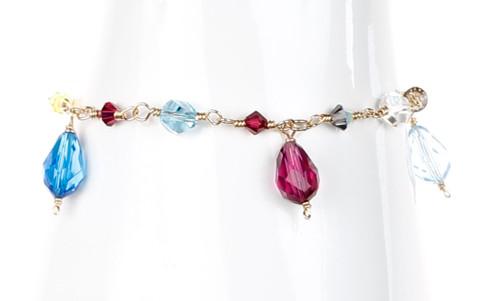 14K gf Wire Wrapped Crystal Bracelet - Tiffany