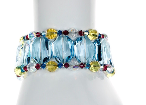 Large Blue Crystal Cuff Bracelet - Tiffany