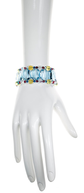 Large Blue Crystal Cuff Bracelet - Tiffany