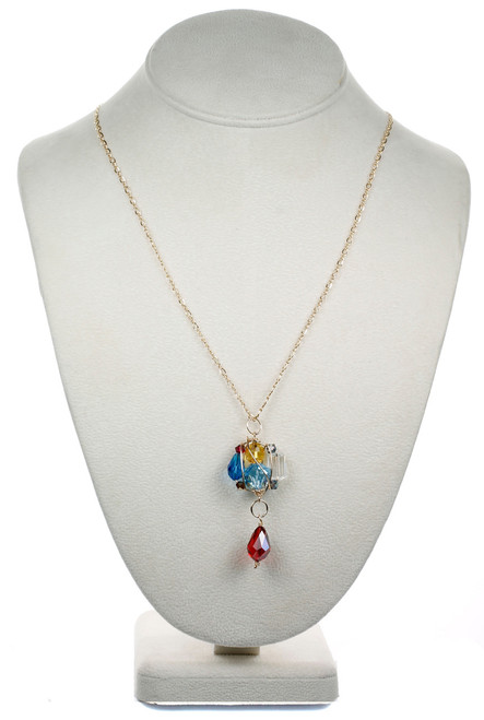 14k Gold Filled Swarovski Crystal Colorful Gaged Cluster Pendant Necklace - Primary