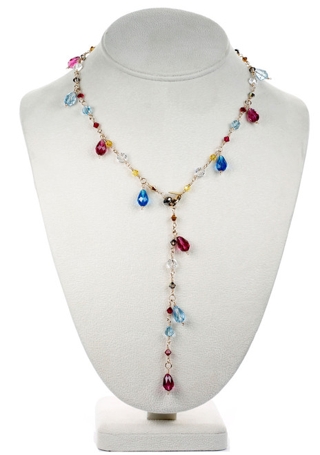 Colorful Crystal Droplet Necklace - Tiffany