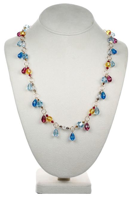 Droplet Necklace Fuchsia & Blue - Tiffany