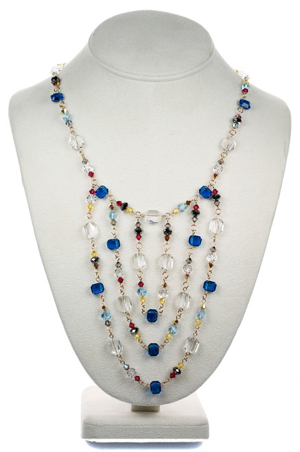 Blue Crystal Layer Necklace - Tiffany