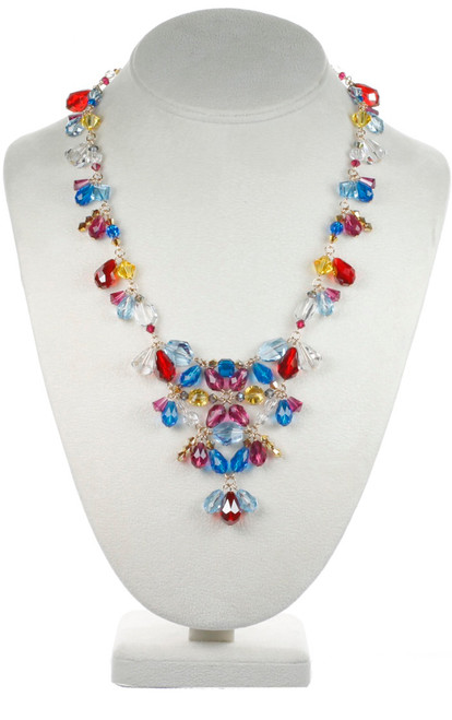 Large Crystal V Necklace - Tiffany