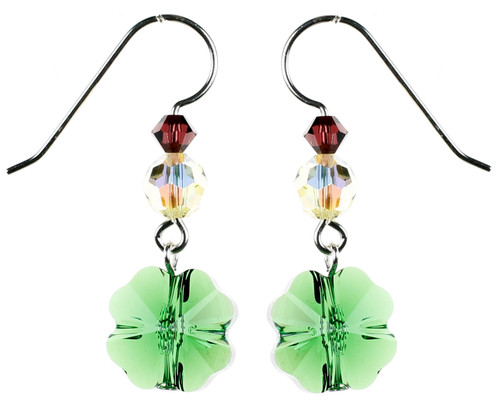 Crystal Green Shamrock Earrings - Botanical