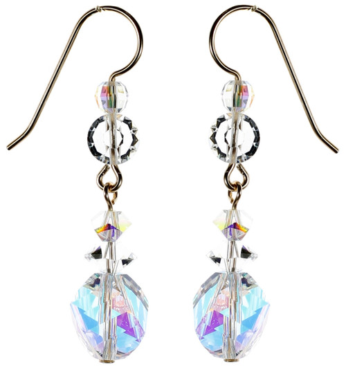 14k Gold Filled Swarovski Clear Vintage Crystal Drop Earrings - Crystal Collection
