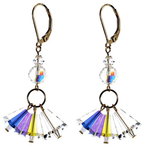 All Clear Crystal Triple Drop Earrings - April Birthstone