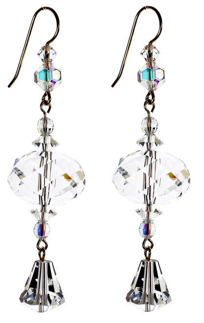 Large Clear Crystal Statement Earrings - April Birthstone
