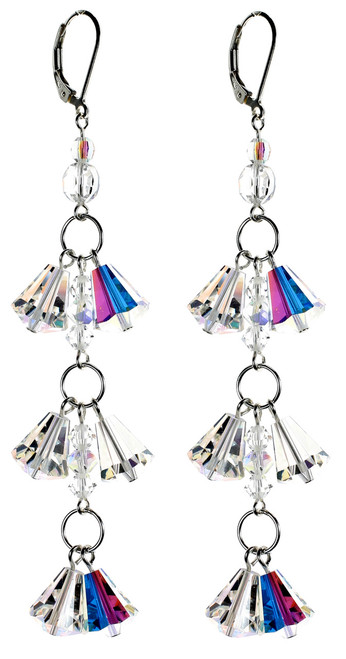 Sterling Silver Swarovski Crystal Double Drop Shoulder Duster Earrings - Crystal Collection
