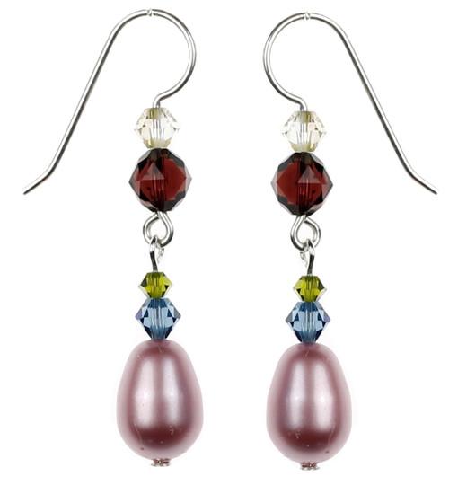Sterling Silver Swarovski Crystal Pink Satin Pearl Dangle Earrings - Botanical Jewelry
