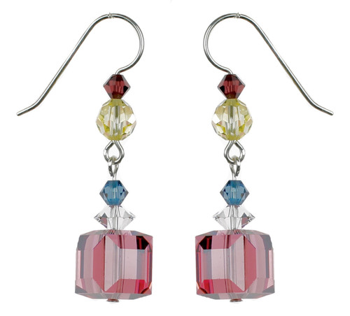 Satin Rose Cube Crystal Earrings - Botanical