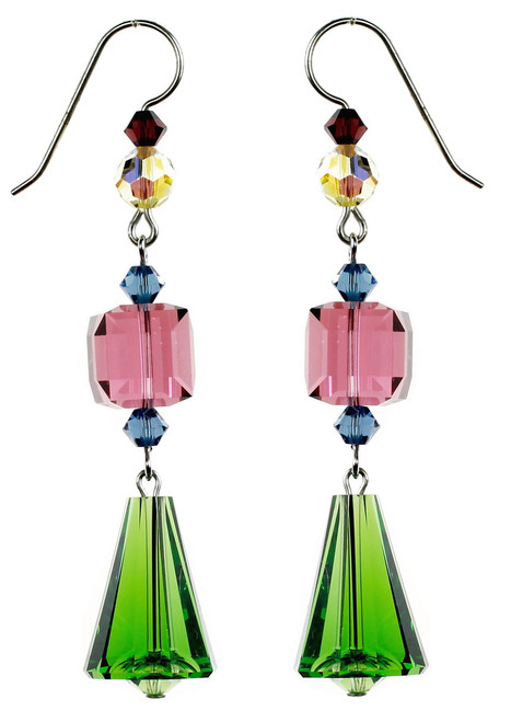Vintage Vivid Green Crystal Earrings - Botanical