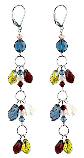 Colored Crystal Shoulder Duster Earrings