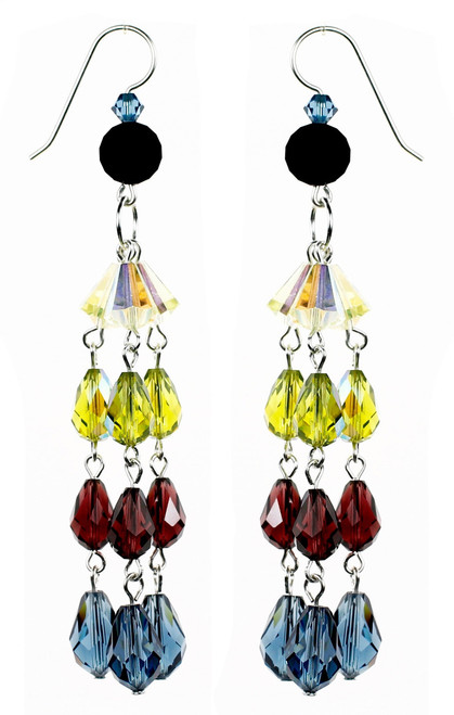 Long Colorful Strand Earrings - Botanical