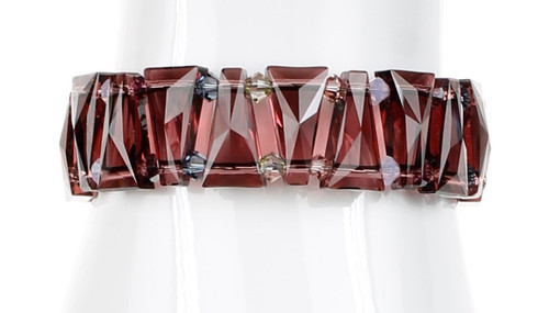 Limited Edition Burgundy Swarovski Crystal Cuff Bracelet - Botanical Jewelry