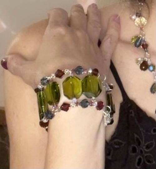 Limited Edition Olivine Swarovski Crystal Cuff Bracelet - Botanical Collection
