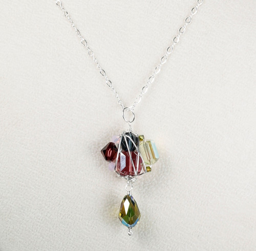 Crystal Cluster Pendant Necklace - Botanical Jewelry