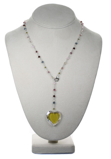 Crystal Heart Pendant Necklace - Botanical Jewelry