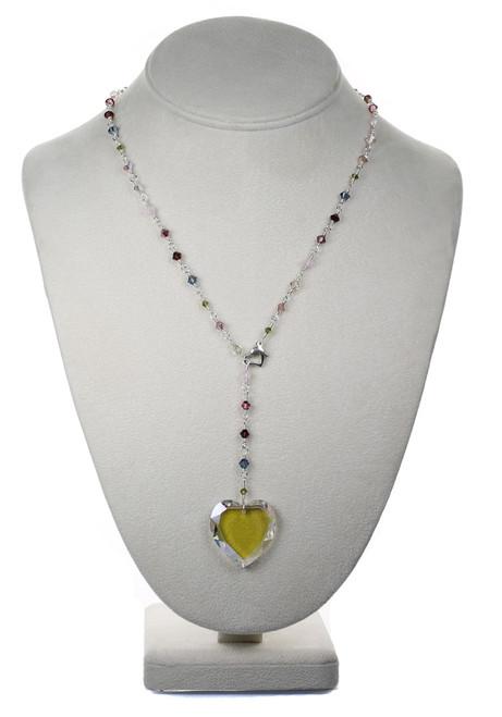 Sterling Silver Swarovski Crystal Heart Pendant Necklace - Botanical Jewelry
