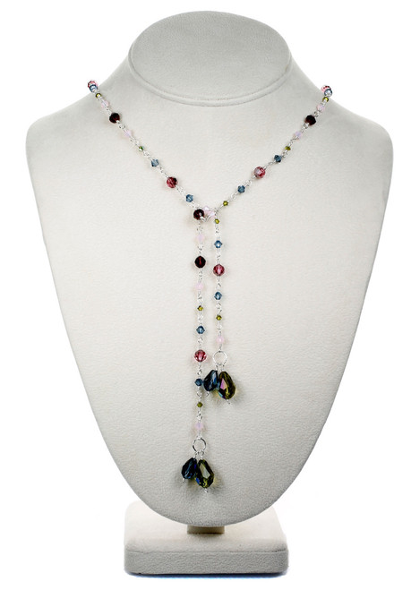 Crystal Lariat Necklace - Botanical Jewelry