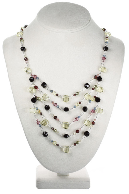 Sterling Silver Swarovski Crystal Colorful Layer Necklace - Botanical Collection